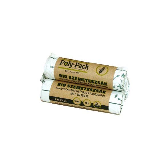 Kukoricakeményítő alapú (EN13432) PLA zsák 450x450x0,018mm, 10 L, 10 db/tekercs